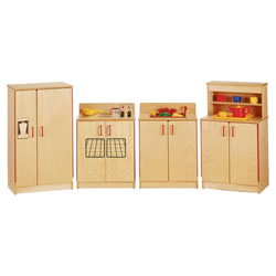 4 Pc Birch Kitchen Set Red Hardware