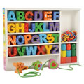 3 years & up. Large, colorful letter beads are perfect for developing eye-hand coordination while mastering letter recognition! Kit includes 26 wooden alphabet beads, 9 accent beads, 3 character beads, and 6 laces.