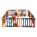 0 - 5 years. This bright and colorful playpen is also tough and durable. Made of high Density Polyethylene with rounded edges and corners this playpen can take on lots of different shapes. This set includes 32 individual panels, 8 yellow, 8 blue, 8 red and 8 green. Suitable for indoor and outdoor use. Assembly required.