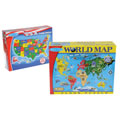 World & US Floor Puzzles (Set of 2)