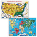United States & The World Jigsaw Puzzles (Set Of 2)