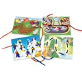 "Lacing cards help children improve their fine motor skills, and develop early math skills as they follow the dots. Includes 6 lacing cards with colorful photos and 6 multi-colored 36"" laces with safe plastic tips."