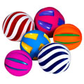 12 months & up. Children will enjoy this set of 6 colorful balls.  Set comes with 3 different exteriors and all squeak when squeezed.